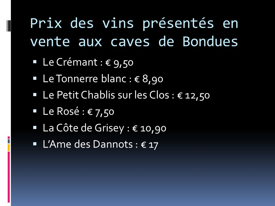 Prix des vins présentés en vente aux caves de Bondues Le Crémant : 9,50 Le Tonnerre blanc : 8,90 Le Petit Chablis sur les Clos : 12,50 Le Rosé : 7,50