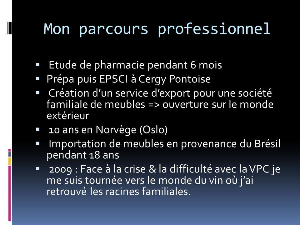 Mon parcours professionnel Etude de pharmacie pendant 6 mois Prépa puis EPSCI à Cergy Pontoise Création dun service dexport pour une société familiale