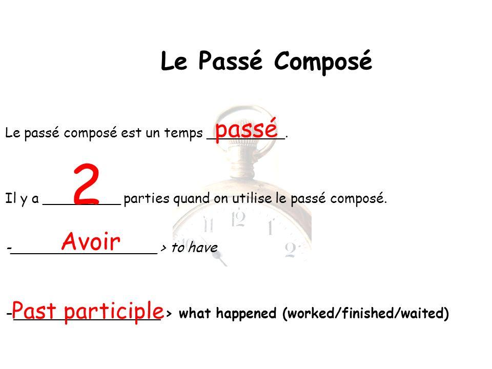 Le Passé Composé Le passé composé est un temps _________.