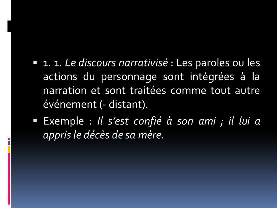 1. 1. Le discours narrativisé : Les paroles ou les actions du personnage sont intégrées à la narration et sont traitées comme tout autre événement (-