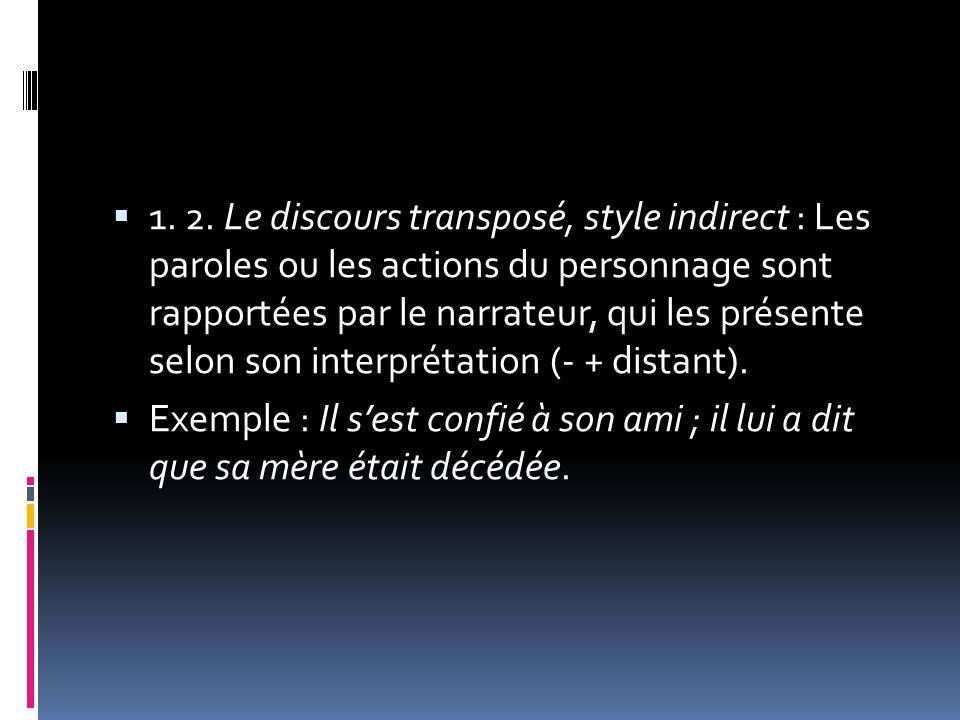 1. 2. Le discours transposé, style indirect : Les paroles ou les actions du personnage sont rapportées par le narrateur, qui les présente selon son in