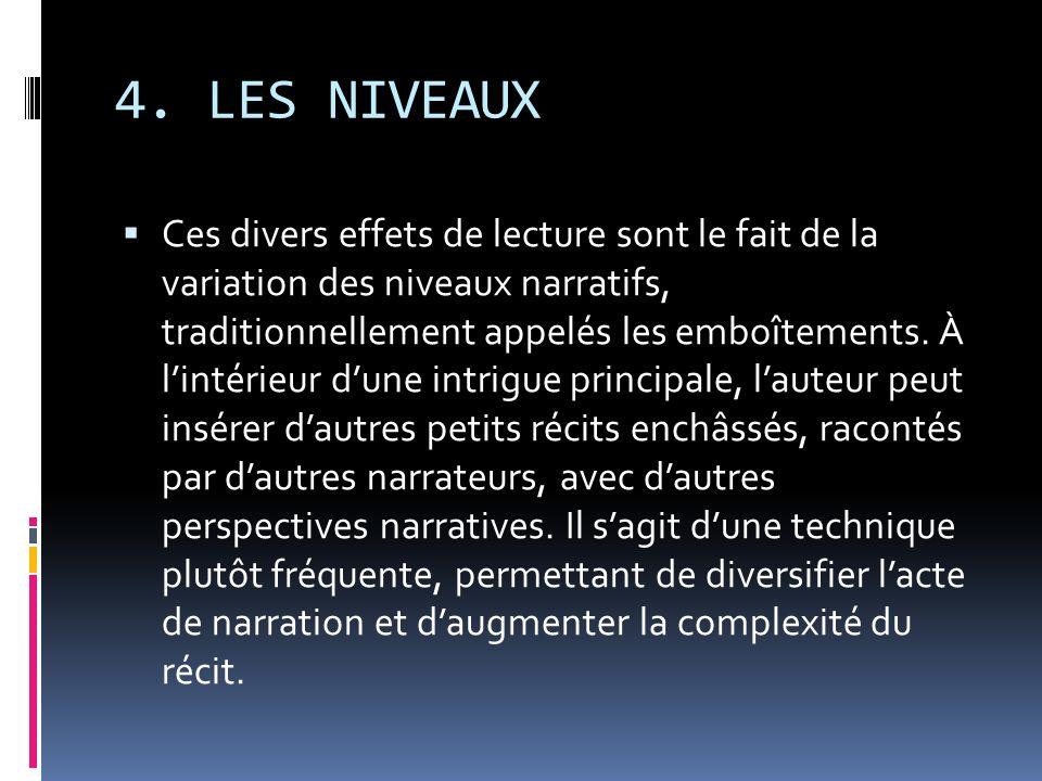 4. LES NIVEAUX Ces divers effets de lecture sont le fait de la variation des niveaux narratifs, traditionnellement appelés les emboîtements. À lintéri