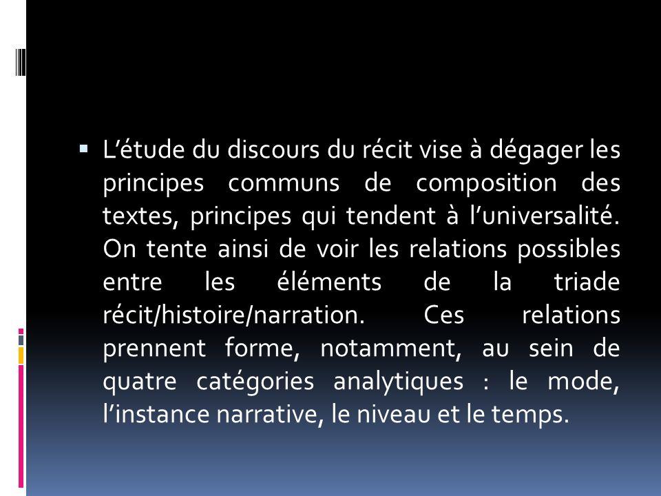 Létude du discours du récit vise à dégager les principes communs de composition des textes, principes qui tendent à luniversalité. On tente ainsi de v