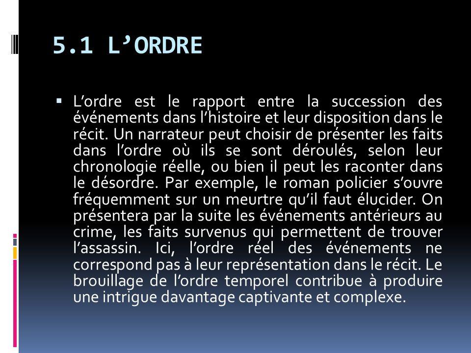 5.1 LORDRE Lordre est le rapport entre la succession des événements dans lhistoire et leur disposition dans le récit. Un narrateur peut choisir de pré