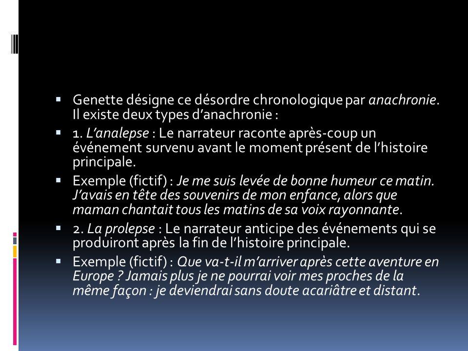 Genette désigne ce désordre chronologique par anachronie. Il existe deux types danachronie : 1. Lanalepse : Le narrateur raconte après-coup un événeme