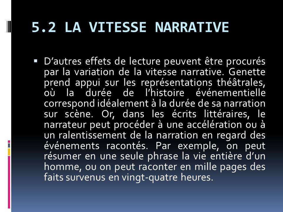 5.2 LA VITESSE NARRATIVE Dautres effets de lecture peuvent être procurés par la variation de la vitesse narrative. Genette prend appui sur les représe