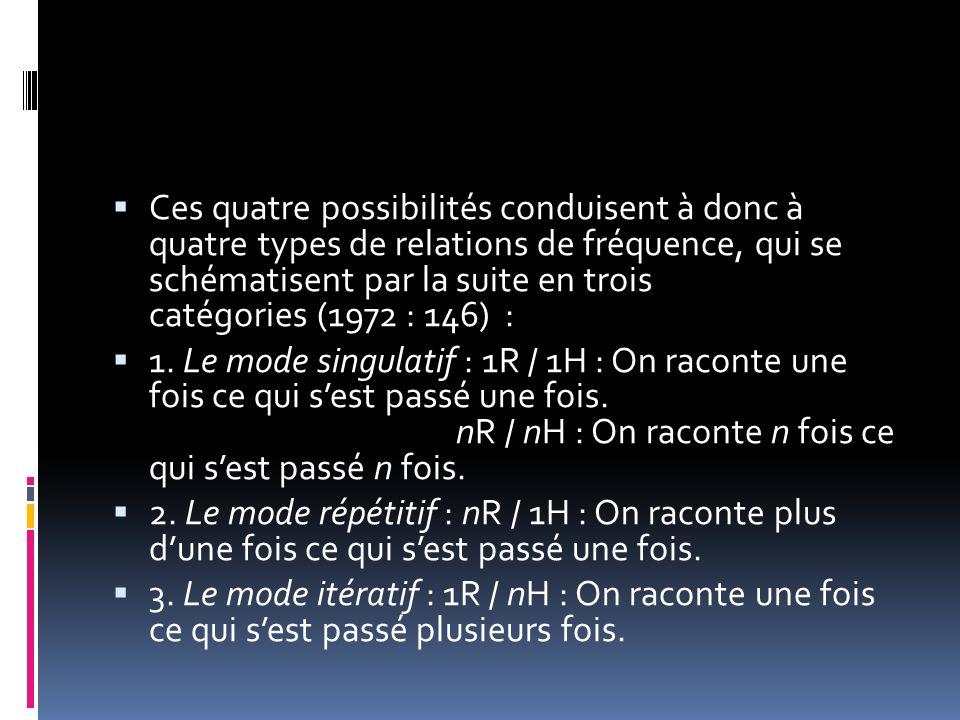 Ces quatre possibilités conduisent à donc à quatre types de relations de fréquence, qui se schématisent par la suite en trois catégories (1972 : 146)