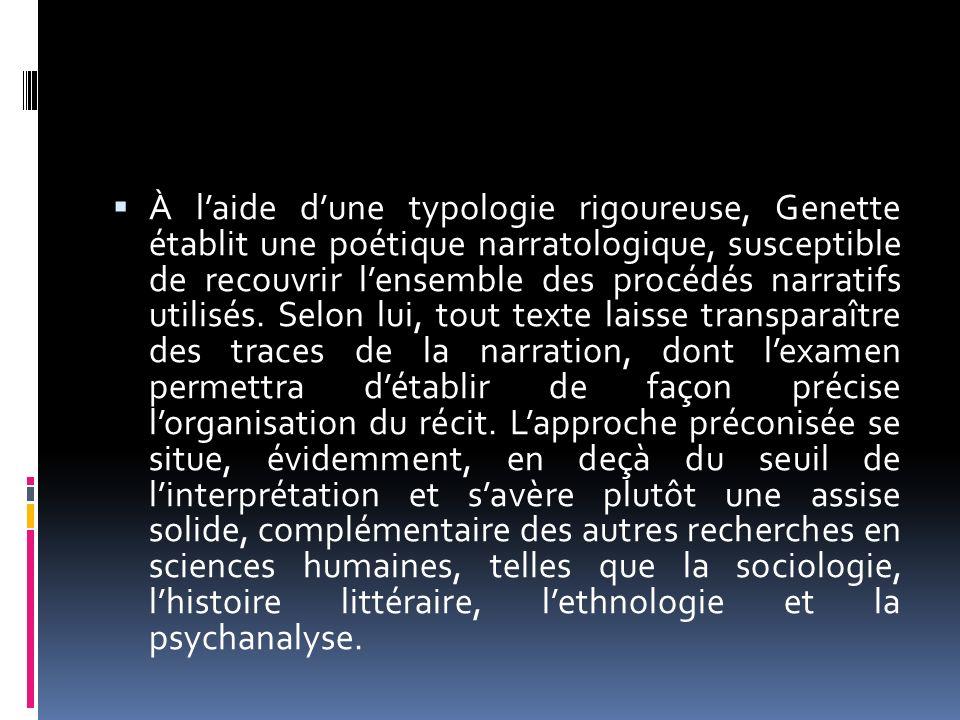 À laide dune typologie rigoureuse, Genette établit une poétique narratologique, susceptible de recouvrir lensemble des procédés narratifs utilisés. Se