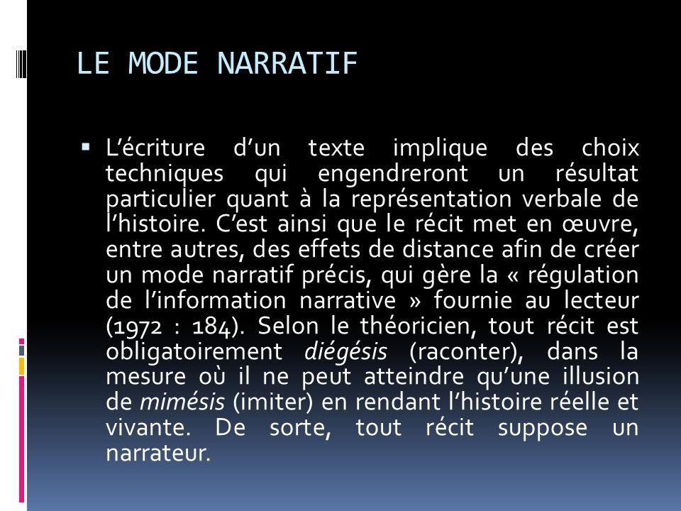 LE MODE NARRATIF Lécriture dun texte implique des choix techniques qui engendreront un résultat particulier quant à la représentation verbale de lhist
