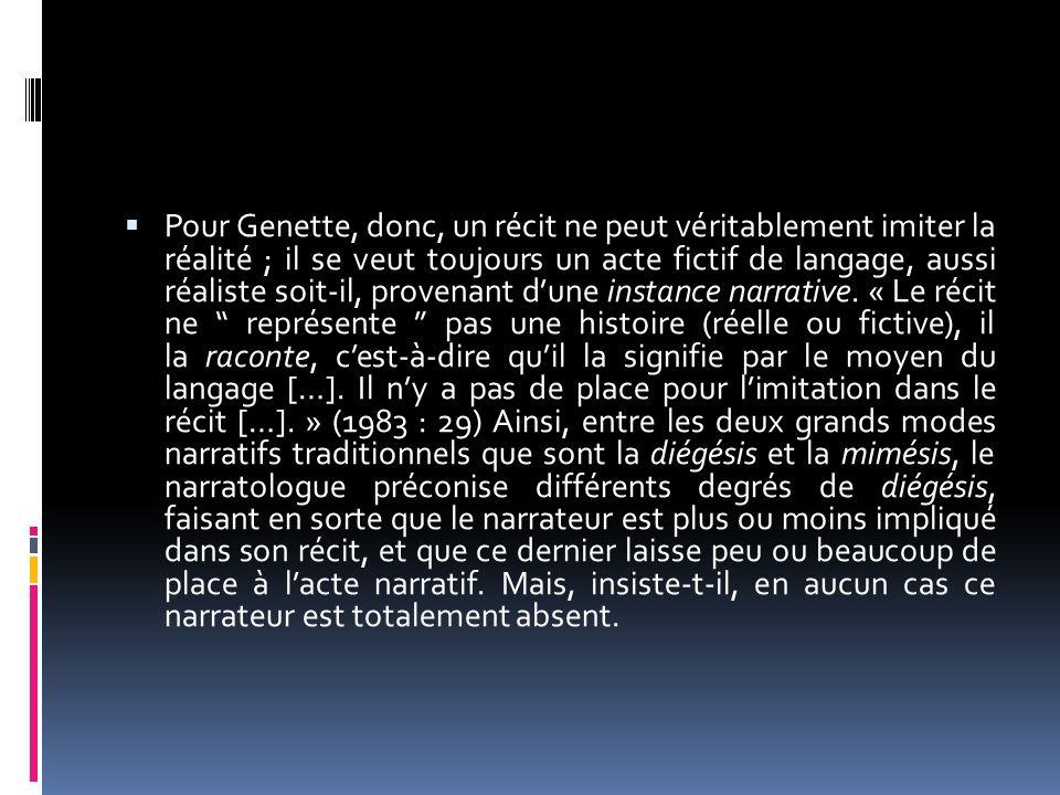 Pour Genette, donc, un récit ne peut véritablement imiter la réalité ; il se veut toujours un acte fictif de langage, aussi réaliste soit-il, provenan