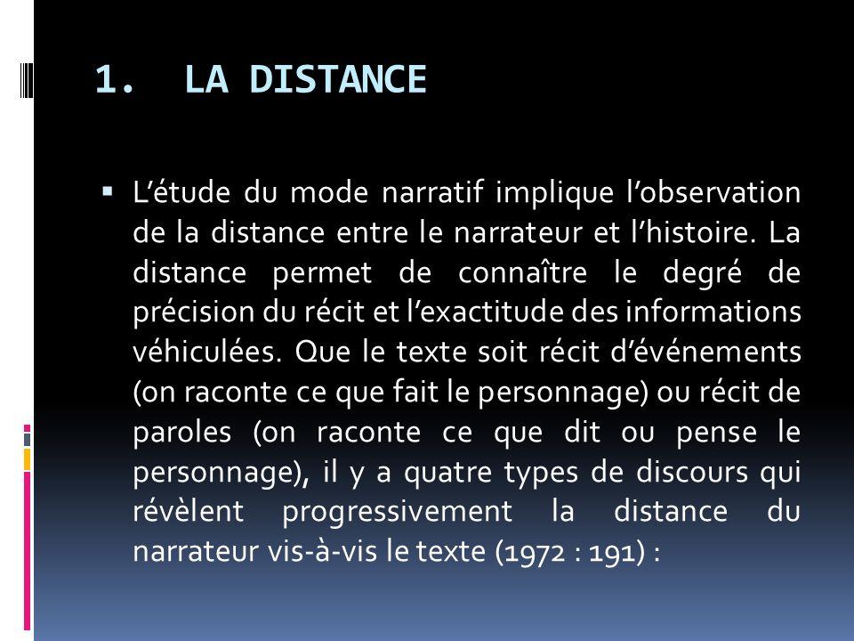 1. LA DISTANCE Létude du mode narratif implique lobservation de la distance entre le narrateur et lhistoire. La distance permet de connaître le degré