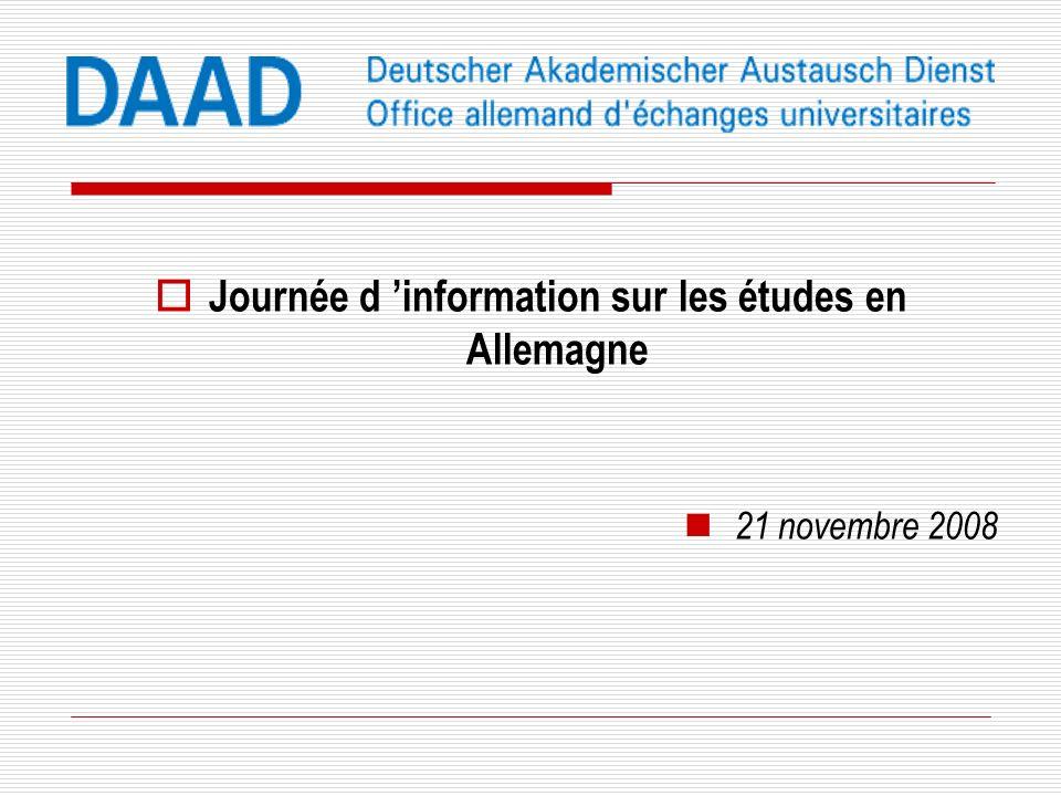 Le système de lenseignement supérieur allemand Journée d information sur les études en Allemagne 21 novembre 2008 Kilian Quenstedt, DAAD Paris