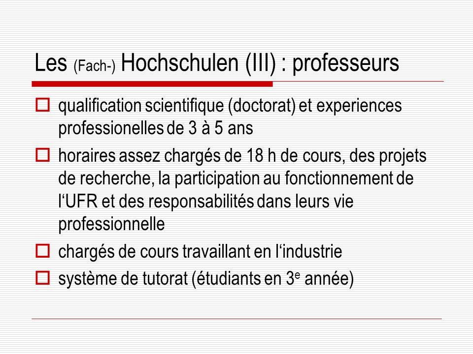 Les (Fach-) Hochschulen (III) : professeurs qualification scientifique (doctorat) et experiences professionelles de 3 à 5 ans horaires assez chargés de 18 h de cours, des projets de recherche, la participation au fonctionnement de lUFR et des responsabilités dans leurs vie professionnelle chargés de cours travaillant en lindustrie système de tutorat (étudiants en 3 e année)