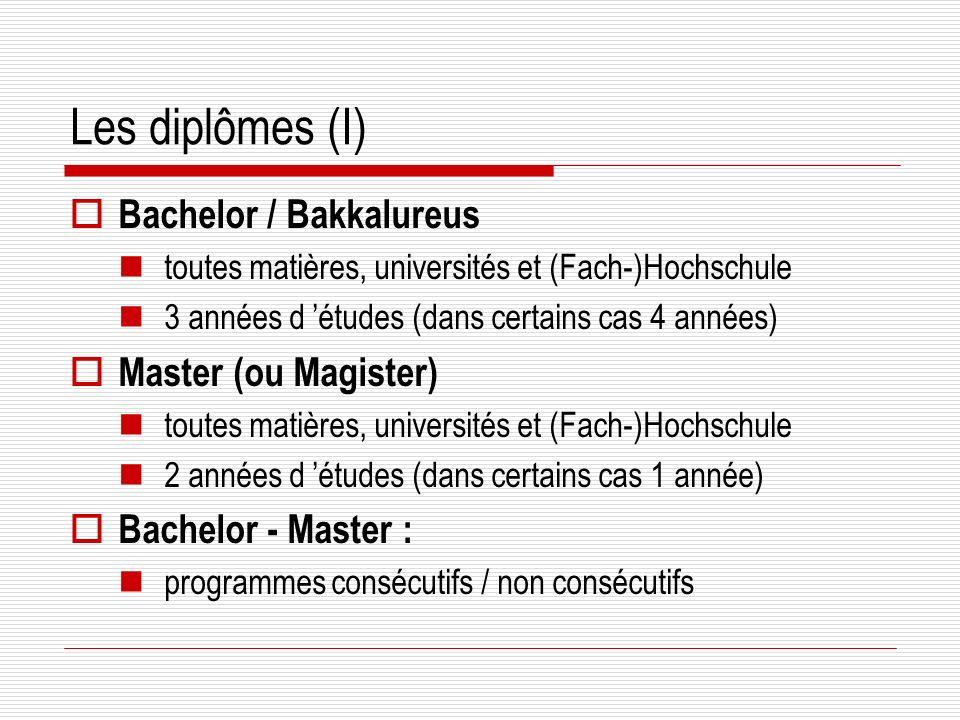 Les diplômes (I) Bachelor / Bakkalureus toutes matières, universités et (Fach-)Hochschule 3 années d études (dans certains cas 4 années) Master (ou Magister) toutes matières, universités et (Fach-)Hochschule 2 années d études (dans certains cas 1 année) Bachelor - Master : programmes consécutifs / non consécutifs