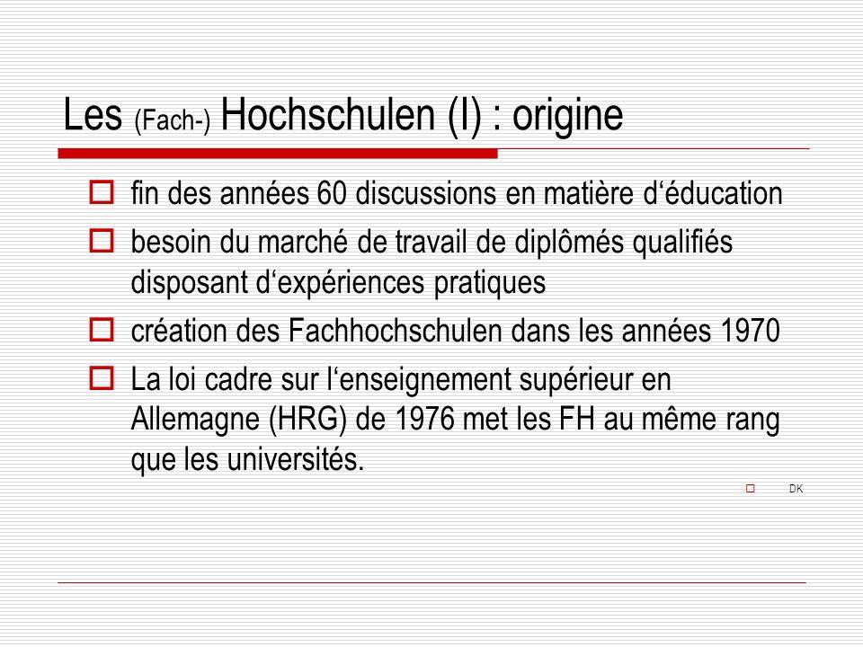 Les (Fach-) Hochschulen (I) : origine fin des années 60 discussions en matière déducation besoin du marché de travail de diplômés qualifiés disposant dexpériences pratiques création des Fachhochschulen dans les années 1970 La loi cadre sur lenseignement supérieur en Allemagne (HRG) de 1976 met les FH au même rang que les universités.
