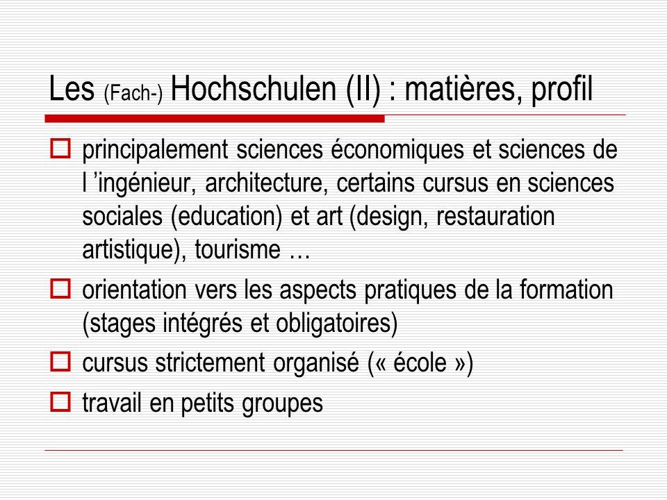 Les (Fach-) Hochschulen (II) : matières, profil principalement sciences économiques et sciences de l ingénieur, architecture, certains cursus en sciences sociales (education) et art (design, restauration artistique), tourisme … orientation vers les aspects pratiques de la formation (stages intégrés et obligatoires) cursus strictement organisé (« école ») travail en petits groupes