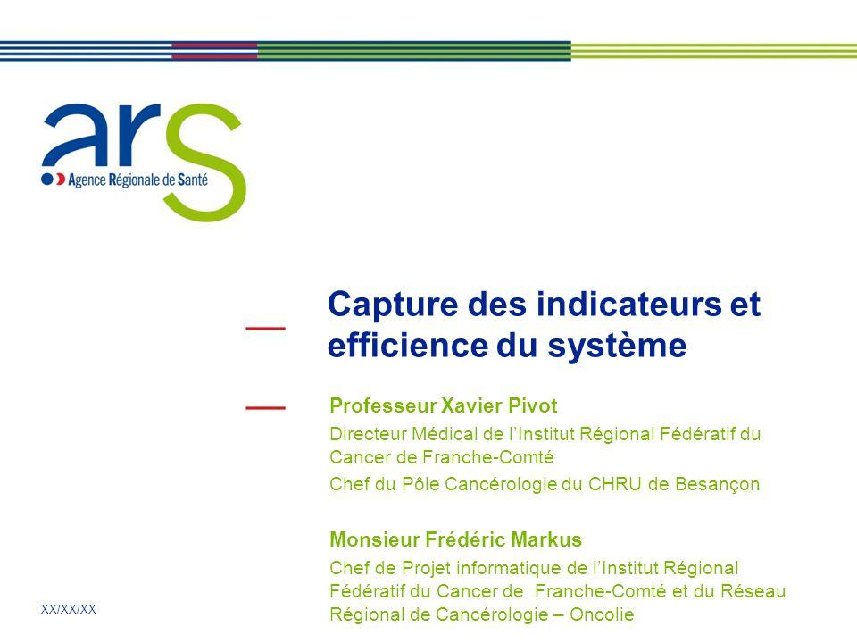 XX/XX/XX Capture des indicateurs et efficience du système Professeur Xavier Pivot Directeur Médical de lInstitut Régional Fédératif du Cancer de Franc