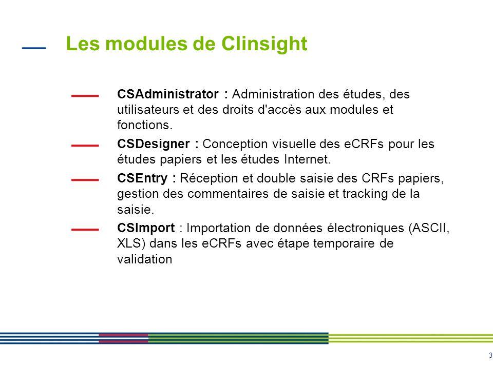 3 Les modules de Clinsight CSAdministrator : Administration des études, des utilisateurs et des droits d'accès aux modules et fonctions. CSDesigner :