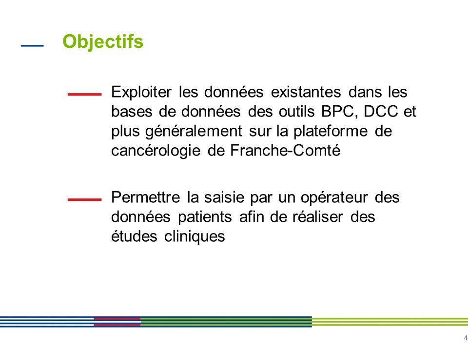 4 Objectifs Exploiter les données existantes dans les bases de données des outils BPC, DCC et plus généralement sur la plateforme de cancérologie de F
