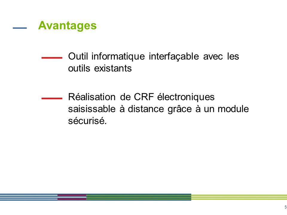 5 Avantages Outil informatique interfaçable avec les outils existants Réalisation de CRF électroniques saisissable à distance grâce à un module sécuri