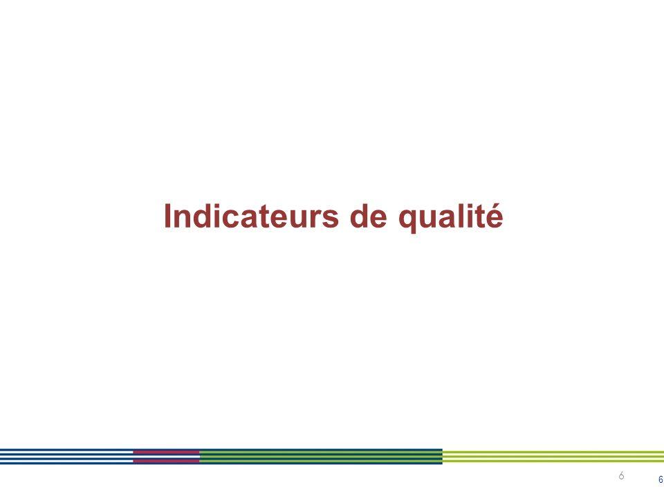 6 6 Indicateurs de qualité