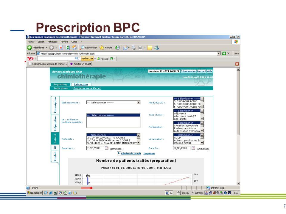 7 Prescription BPC Extraction à partir de longlet « Reporting »