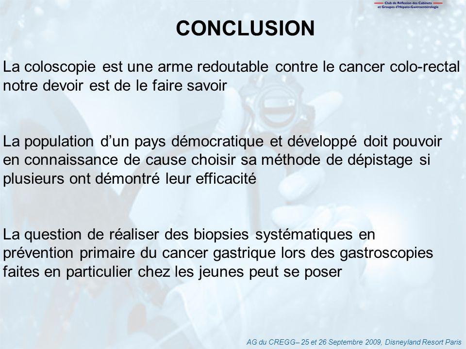 AG du CREGG– 25 et 26 Septembre 2009, Disneyland Resort Paris CONCLUSION La coloscopie est une arme redoutable contre le cancer colo-rectal notre devo