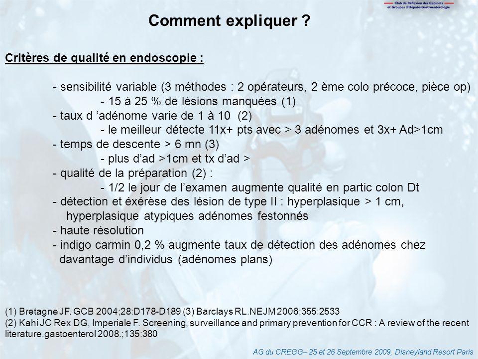 AG du CREGG– 25 et 26 Septembre 2009, Disneyland Resort Paris Comment expliquer ? Critères de qualité en endoscopie : - sensibilité variable (3 méthod