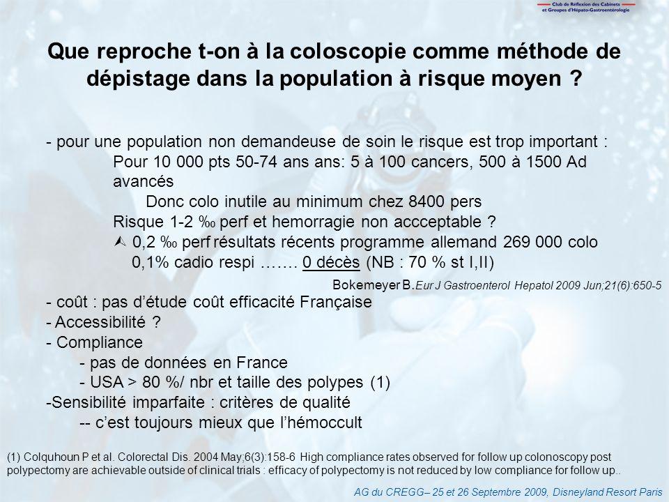 AG du CREGG– 25 et 26 Septembre 2009, Disneyland Resort Paris (1) Colquhoun P et al. Colorectal Dis. 2004 May;6(3):158-6 High compliance rates observe