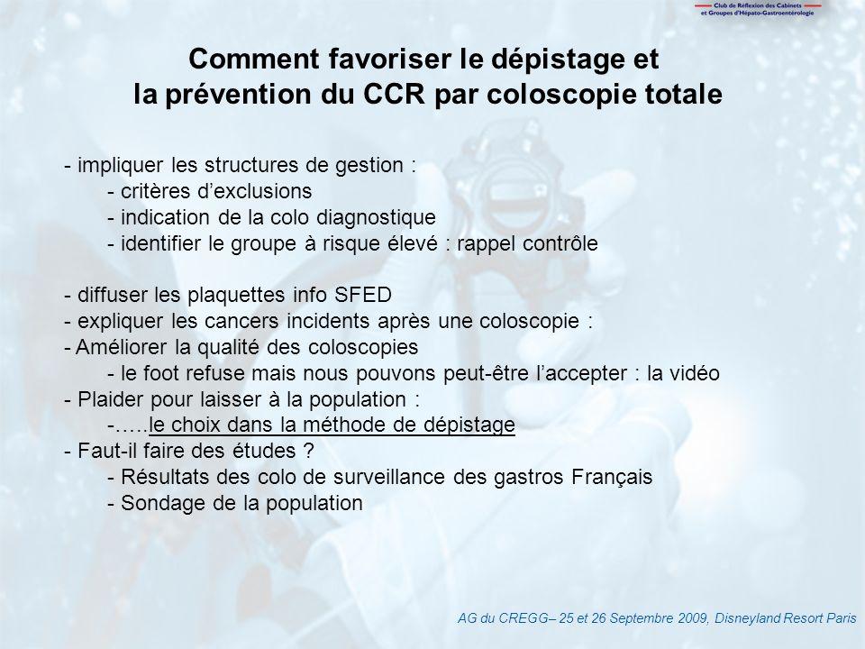 AG du CREGG– 25 et 26 Septembre 2009, Disneyland Resort Paris Comment favoriser le dépistage et la prévention du CCR par coloscopie totale - impliquer