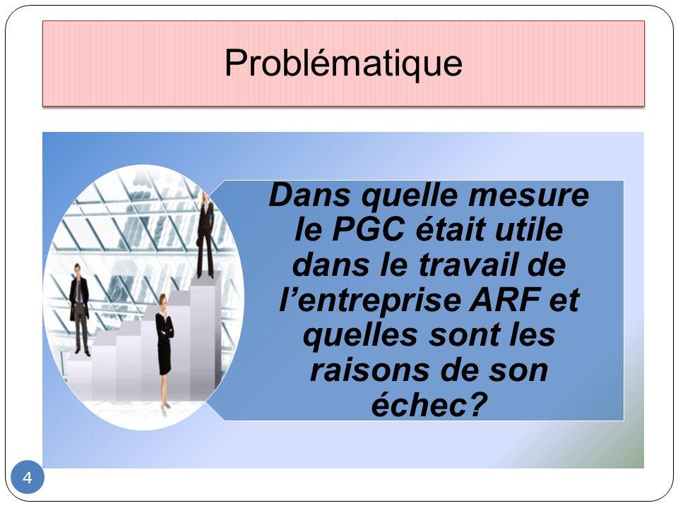 Problématique 4 Dans quelle mesure le PGC était utile dans le travail de lentreprise ARF et quelles sont les raisons de son échec?