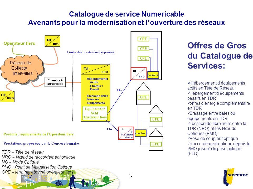 Catalogue de service Numericable Avenants pour la modernisation et louverture des réseaux 13 Offres de Gros du Catalogue de Services: Hébergement déqu