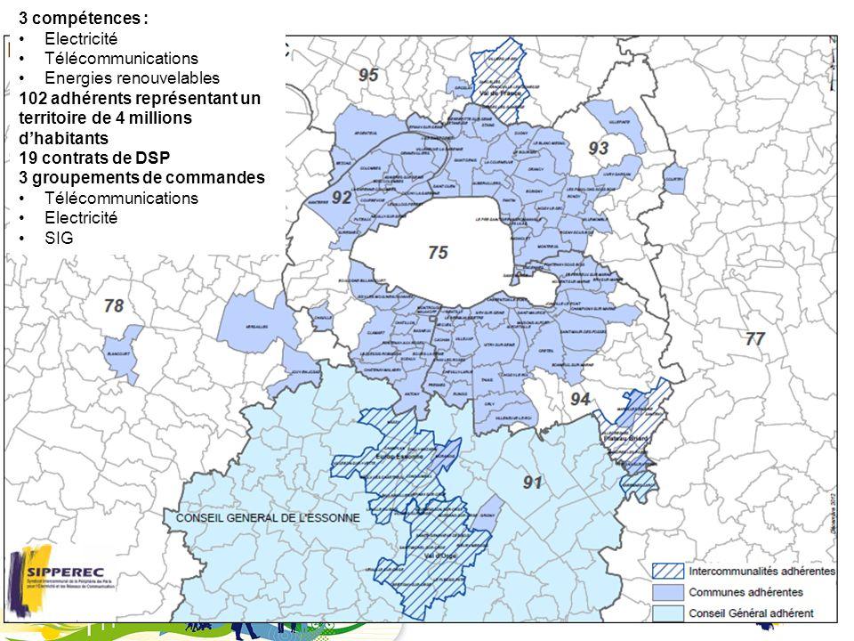 2 3 compétences : Electricité Télécommunications Energies renouvelables 102 adhérents représentant un territoire de 4 millions dhabitants 19 contrats