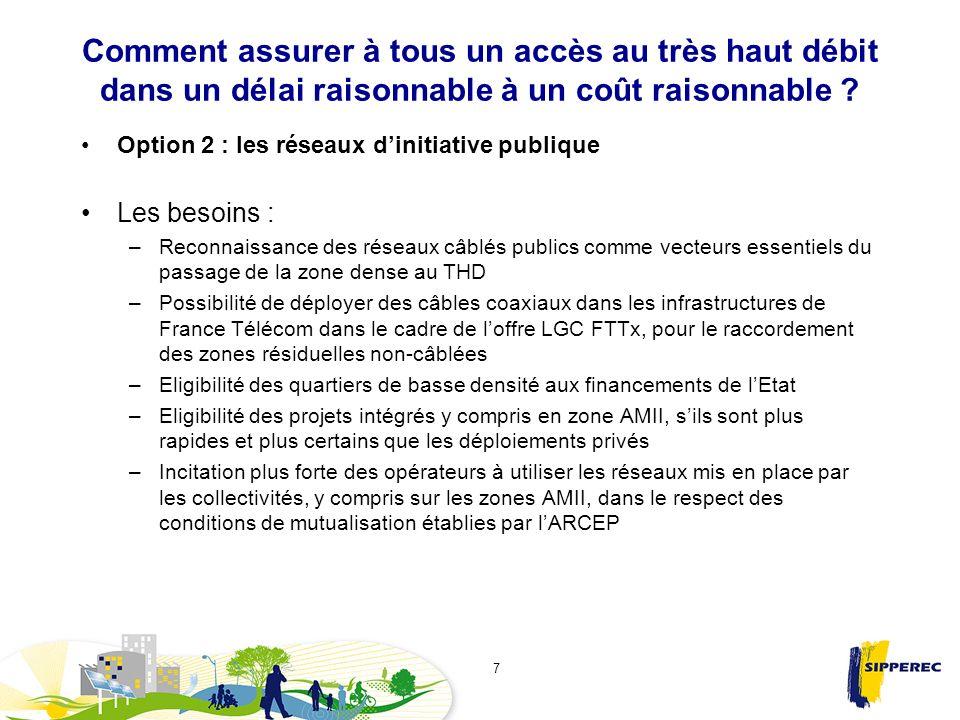 Comment assurer à tous un accès au très haut débit dans un délai raisonnable à un coût raisonnable ? Option 2 : les réseaux dinitiative publique Les b