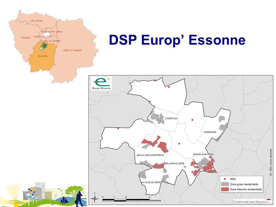 DSP THD Europ Essonne Délégataire :TUTOR Europ Essonne (filiale de la société TUTOR) Objectif du projet couverture intégrale FTTH/FTTU de toutes les entreprises et foyers sur les 10 communes en complément des sites desservis par les opérateurs privés Déploiement : déploiement prévu sur 2 ans et décomposé en 3 phases : - Phases 1 et 2 (déclenchées) : Réalisation du réseau de collecte, desserte de 8.000 sites professionnels (FTTU) et de 11.000 sites particuliers (FTTH), en ciblant en priorité les zones mal desservis en ADSL - Phase 3 : Raccordement de tous les sites particuliers restants à desservir (a minima 9.000 sites) Services : services actifs et passifs sur fibre optique à destination des marchés professionnel et particulier Financement : 22 M, dont 15 M au titre des investissements de 1 er établissement ; participation publique : 10 M (CAEE, Région Ile-de-France, …) Avancement du projet (décembre 2012) : phases 1 et 2 du projet ont été lancées en décembre 2011 ; le réseau de collecte est en partie déployé sur une grande partie du territoire de lagglo ; le réseau FTTU est opérationnel sur les 10 communes et le raccordement des premières entreprises est effectif ; le projet se poursuit avec le déploiement du volet résidentiel (FTTH) : léquipement des 5 premières communes (choisies par les élus en raison des problèmes d éligibilité DSL) sera réalisé à la fin 2012 leur mise en service est prévue au printemps 2013.