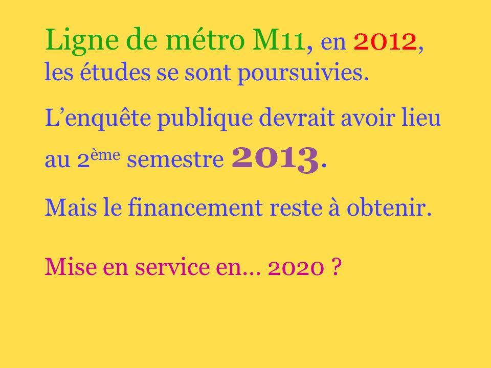 Ligne de métro M11, en 2012, les études se sont poursuivies.