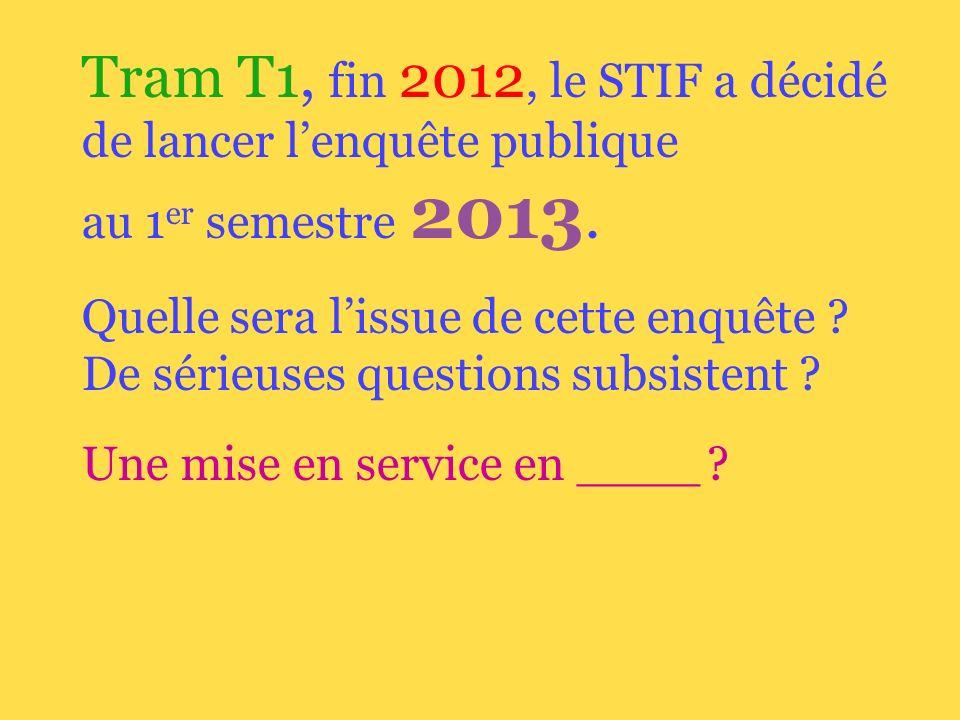 Tram T1, fin 2012, le STIF a décidé de lancer lenquête publique au 1 er semestre 2013.