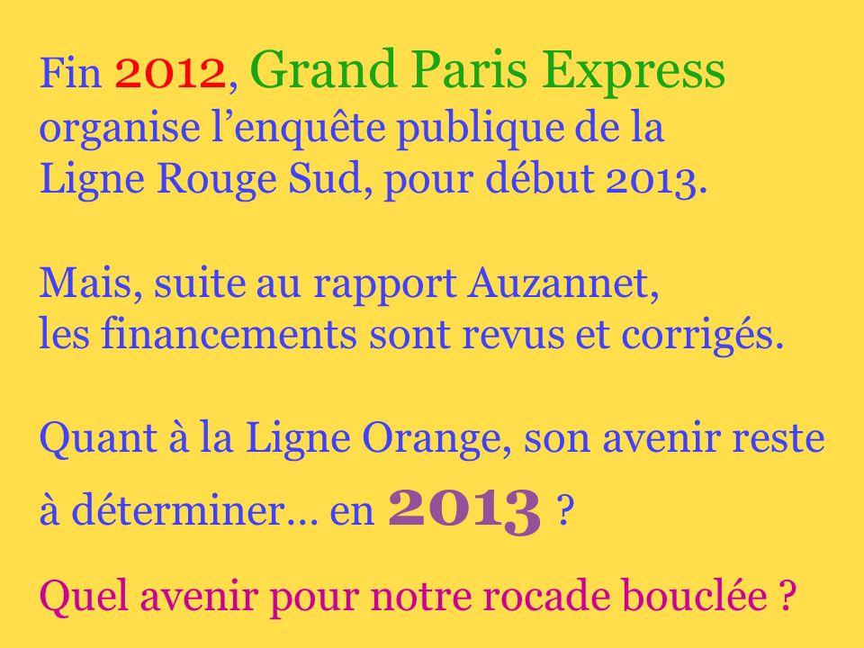 Fin 2012, Grand Paris Express organise lenquête publique de la Ligne Rouge Sud, pour début 2013.