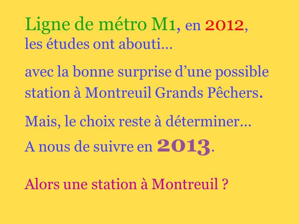 Ligne de métro M1, en 2012, les études ont abouti… avec la bonne surprise dune possible station à Montreuil Grands Pêchers.