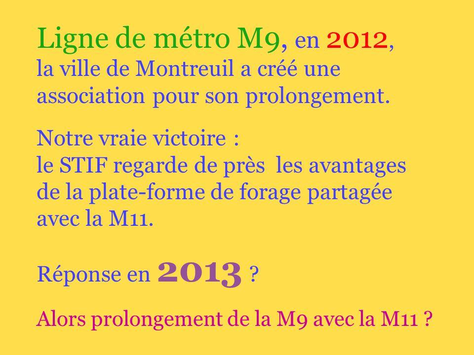 Ligne de métro M9, en 2012, la ville de Montreuil a créé une association pour son prolongement.