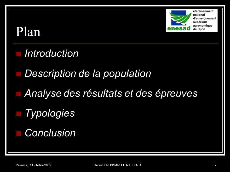 Palerme, 7 Octobre 2005Gerard FROSSARD E.N.E.S.A.D.2 Plan Introduction Description de la population Analyse des résultats et des épreuves Typologies Conclusion