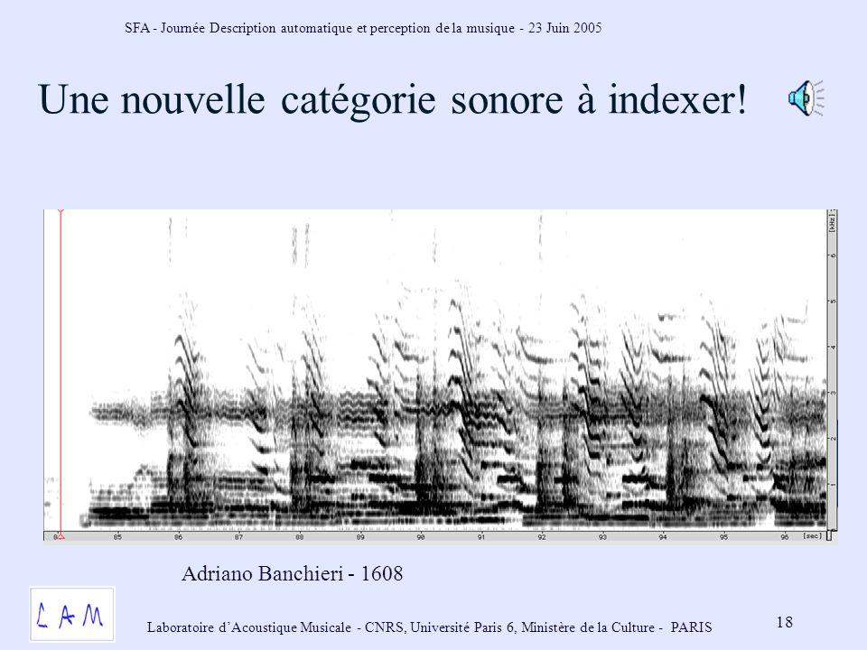 SFA - Journée Description automatique et perception de la musique - 23 Juin 2005 Laboratoire dAcoustique Musicale - CNRS, Université Paris 6, Ministère de la Culture - PARIS 18 Une nouvelle catégorie sonore à indexer.