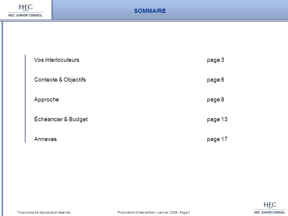 Proposition dintervention – Janvier 2006 - Page 3 Tous droits de reproduction réservés Vos interlocuteurs Contexte & Objectifs Approche Échéancier & Budget Annexes