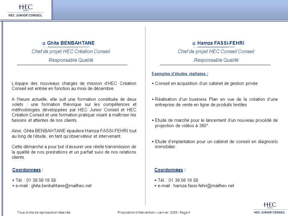 Proposition dintervention – Janvier 2006 - Page 4 Tous droits de reproduction réservés Hamza FASSI-FEHRI Chef de projet HEC Conseil Conseil Responsabl