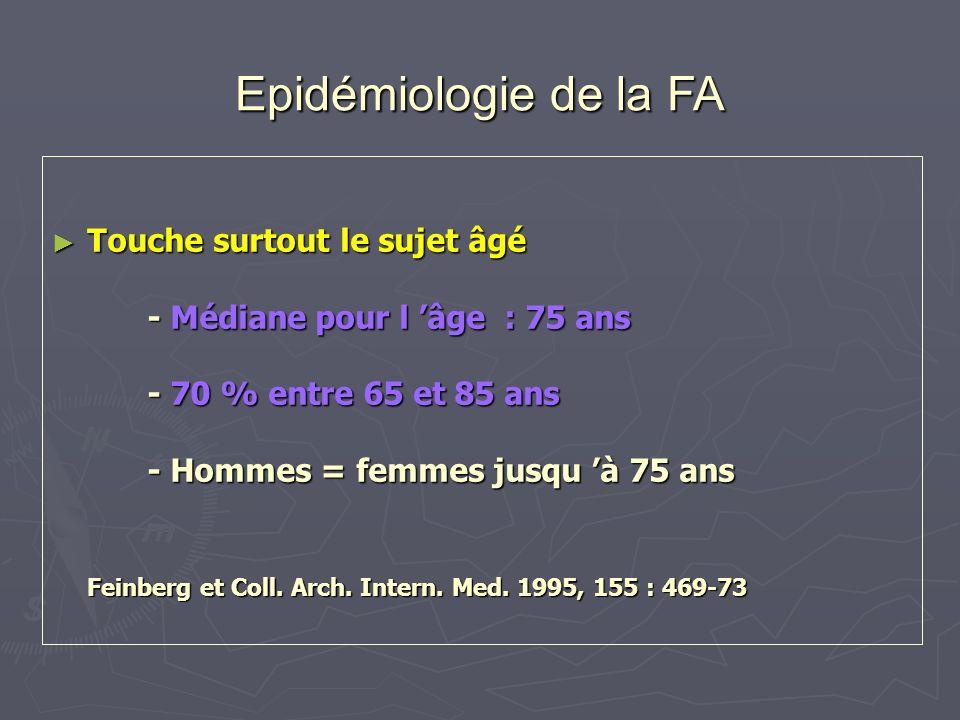 Epidémiologie de la FA Touche surtout le sujet âgé - Médiane pour l âge : 75 ans - 70 % entre 65 et 85 ans - Hommes = femmes jusqu à 75 ans Feinberg e