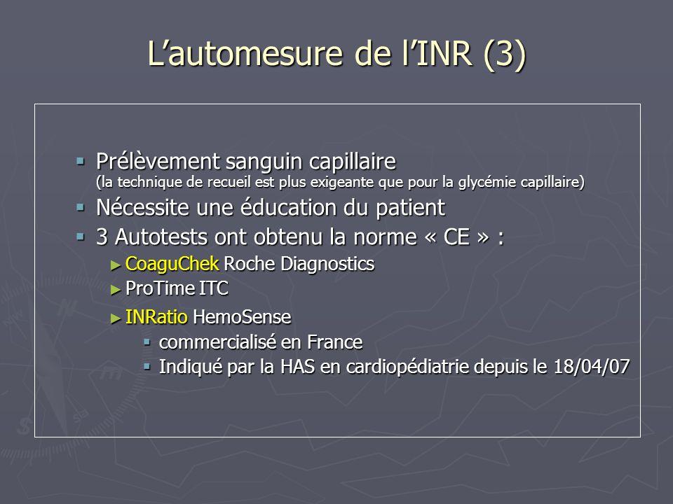 Lautomesure de lINR (3) Prélèvement sanguin capillaire (la technique de recueil est plus exigeante que pour la glycémie capillaire) Prélèvement sangui