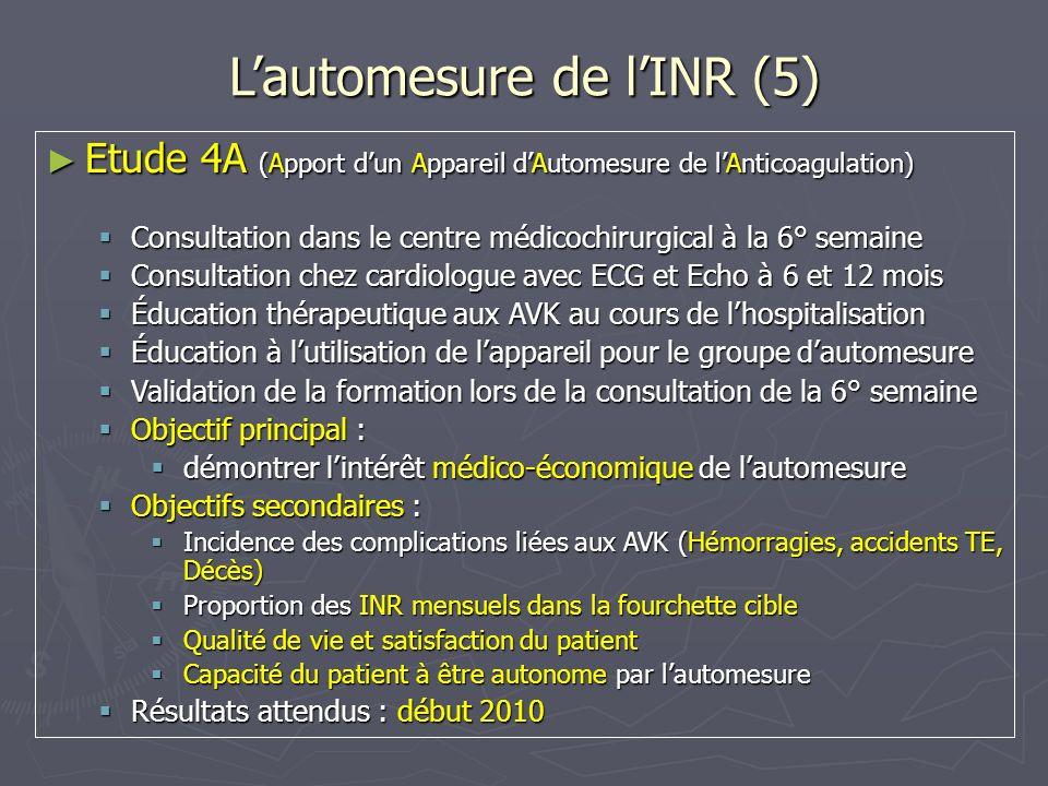 Lautomesure de lINR (5) Etude 4A (Apport dun Appareil dAutomesure de lAnticoagulation) Etude 4A (Apport dun Appareil dAutomesure de lAnticoagulation)