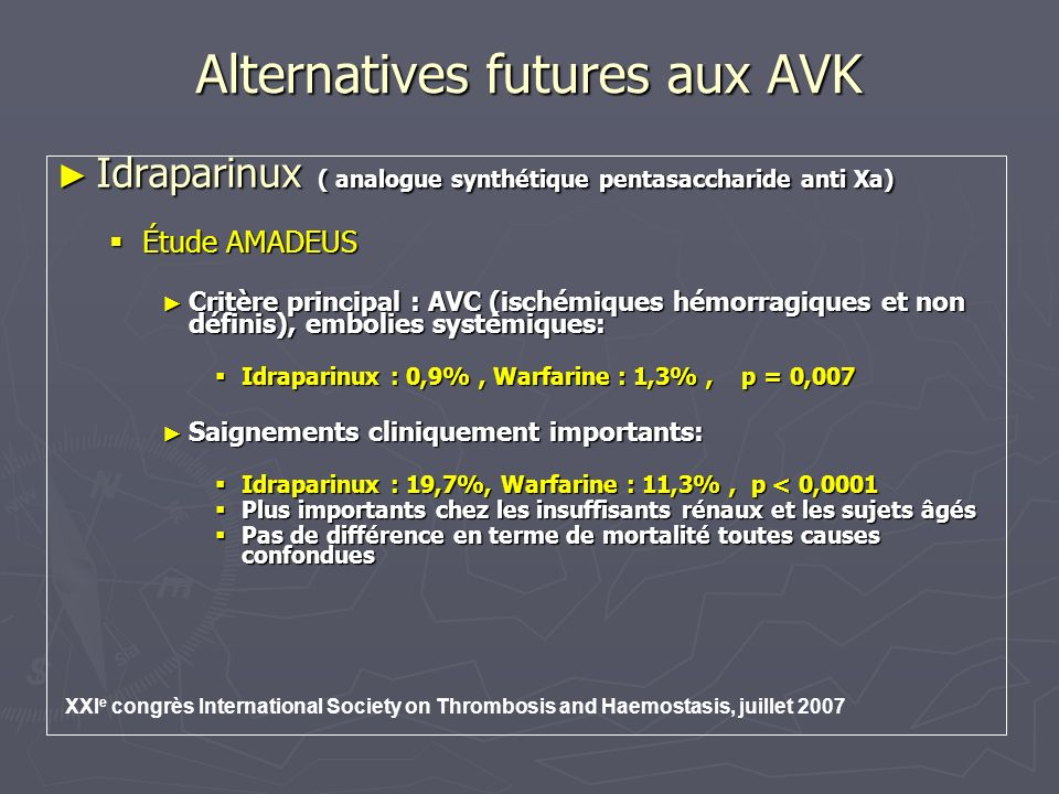 Alternatives futures aux AVK Idraparinux ( analogue synthétique pentasaccharide anti Xa) Idraparinux ( analogue synthétique pentasaccharide anti Xa) É