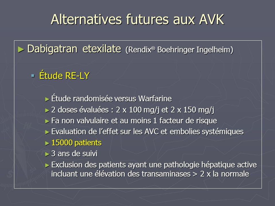 Alternatives futures aux AVK Dabigatran etexilate (Rendix ® Boehringer Ingelheim) Dabigatran etexilate (Rendix ® Boehringer Ingelheim) Étude RE-LY Étu