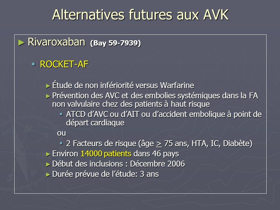 Alternatives futures aux AVK Rivaroxaban (Bay 59-7939) Rivaroxaban (Bay 59-7939) ROCKET-AF ROCKET-AF Étude de non infériorité versus Warfarine Étude d